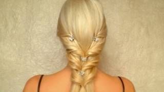Elegant wedding hairstyle for long straight hair Romantic prom hair tutorial Cute half up half down