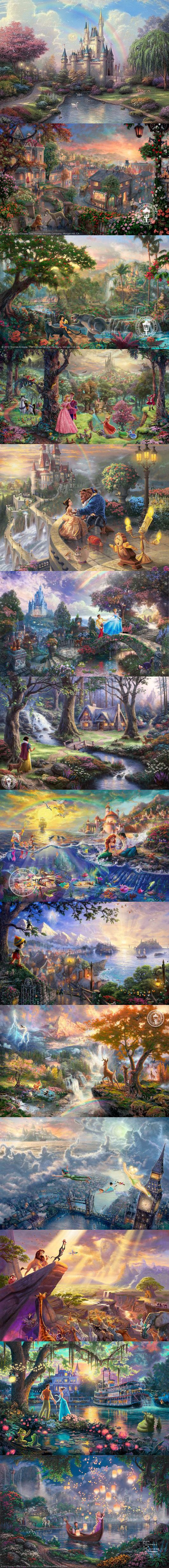 Love these! Thomas kinkade Disney paintings.