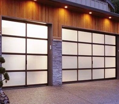 Full View Aluminum Amp Frosted Sandblast Glass Garage Door
