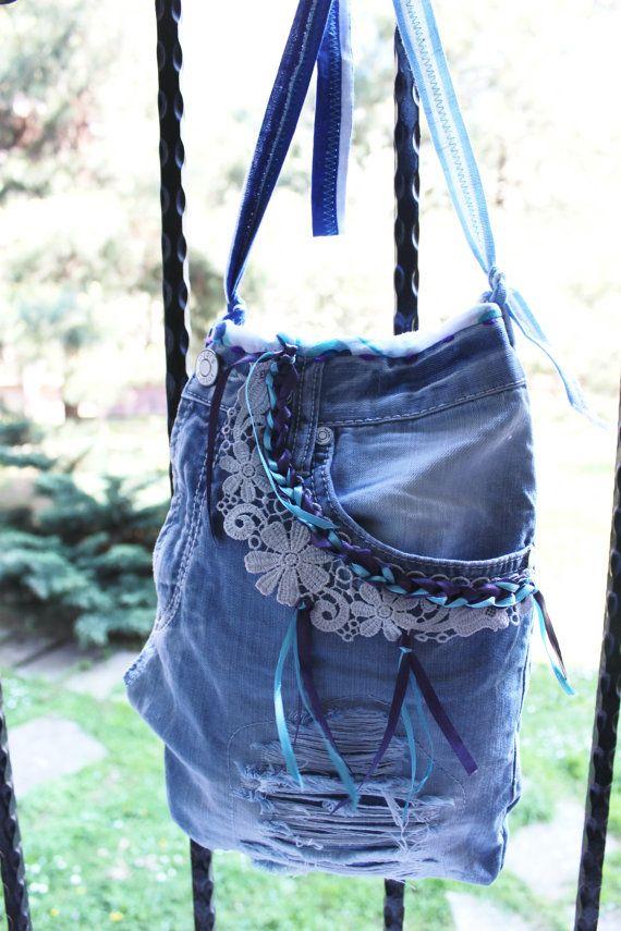 Blue denim handbags, Denim handbags, Jeans Crossbody bags, Boho bag, Recycled bags, Messenger bags, Handbags worn jeans, Jeans tote bag