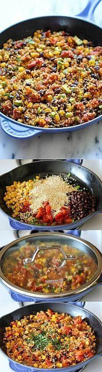Zobacz zdjęcie KASZA JAGLANA Z WARZYWAMI  Cebulkę, czerwoną fasolkę, szczypiorek, kukurydzę i czerwone pomidorki (z puszki) podsmażamy na głębokiej patelni. Dodajemy ok szklanki kaszy jaglanej i szklankę bulionu. Gotujemy ok 10-15 min pod przykryciem. Dodajemy ulubione przyprawy (wskazana jest papryka chilli) i trochę soku z limonki. Dusimy jeszcze 5 min i gotowe! w pełnej rozdzielczości