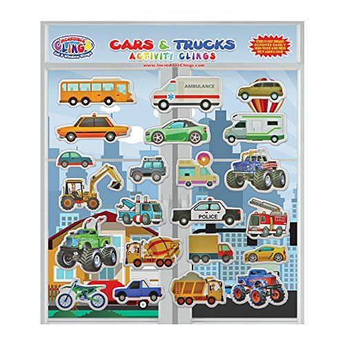 Cars & Trucks (Police and Race Cars, Monster, Tow and Fire Trucks, and More) Reusable Window and Wall Cling Puffy Car Stickers for Kids and Toddlers by Incredible Gel and Window Clings #Cars #Trucks #(Police #Race #Cars, #Monster, #Fire #Trucks, #More) #Reusable #Window #Wall #Cling #Puffy #Stickers #Kids #Toddlers #Incredible #Clings