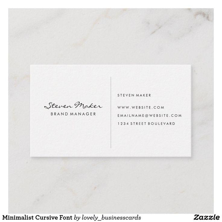 minimalist cursive font business card  zazzle
