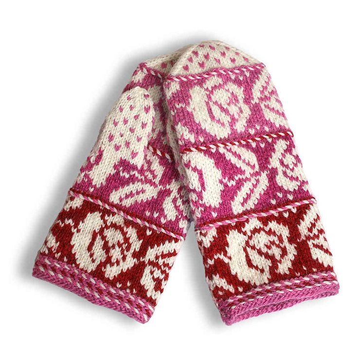Design by Finnish crafts center Taitopirkanmaa in Tampere | Ingrid mittens, red (9527)