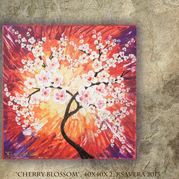 Cherry Blossom Acrylic Painting Tree Of Life FREE SHIPPING Palette Knife Enchanted Forest KSAVERA Abstract Floral