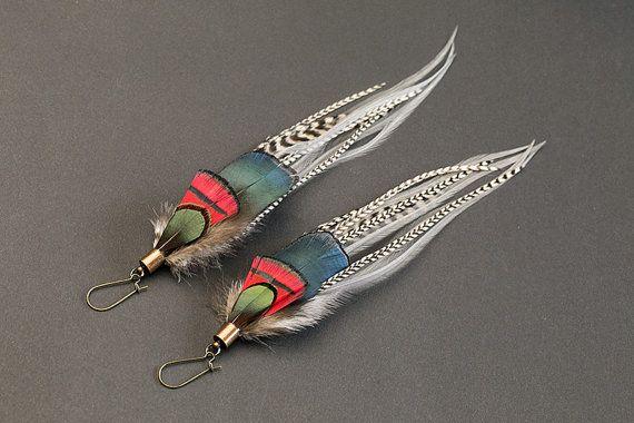 Boho chic feather earrings, long earrings, iridescent, natural feather earring, boho earring, light long earring, feather hair extension