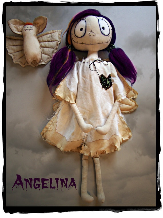 Goth textile Doll Angelina and Bat by ArteAnRy on Etsy, €40.00