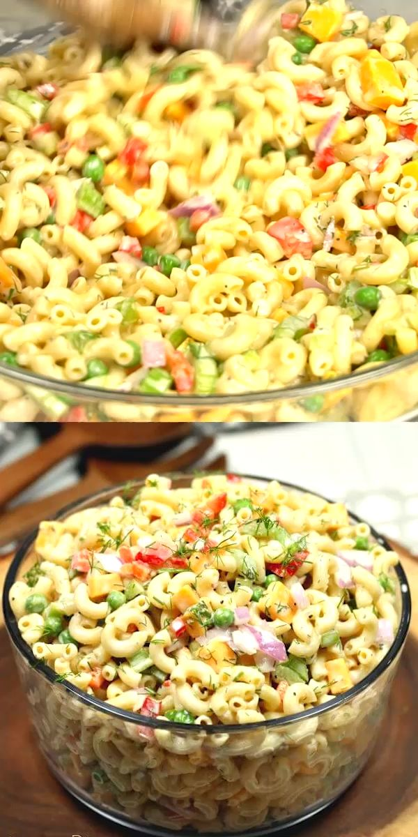 This Easy Macaroni Salad recipe is the perfect side dish to bring to Summer BBQ's, parties and more!  You will love the creamy dressing in this delicious Macaroni salad recipe. You will be shocked how quickly you can throw together this simple Elbow macaroni salad! #easyrecipe #eatingonadime #macaroni #pastasalad #recipe