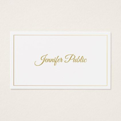 Elegant Gold Calligraphy Script Minimalist Design Business Card - calligraphy gifts custom personalize diy create your own