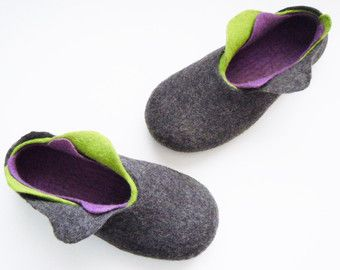 These felted slippers are made from 100% natural products (merino wool and latex). In felting process were used also only natural tools: hot water and soap. Felted slippers will perfectly fit for wearing inside. They are soft and so easy that even imperceptible, it will fit like your second skin. You will love those slippers, because of softness and ease. Slippers will let your feet skin breathe, will not let your foots get too hot or too cold - natural wool slippers will keep the…