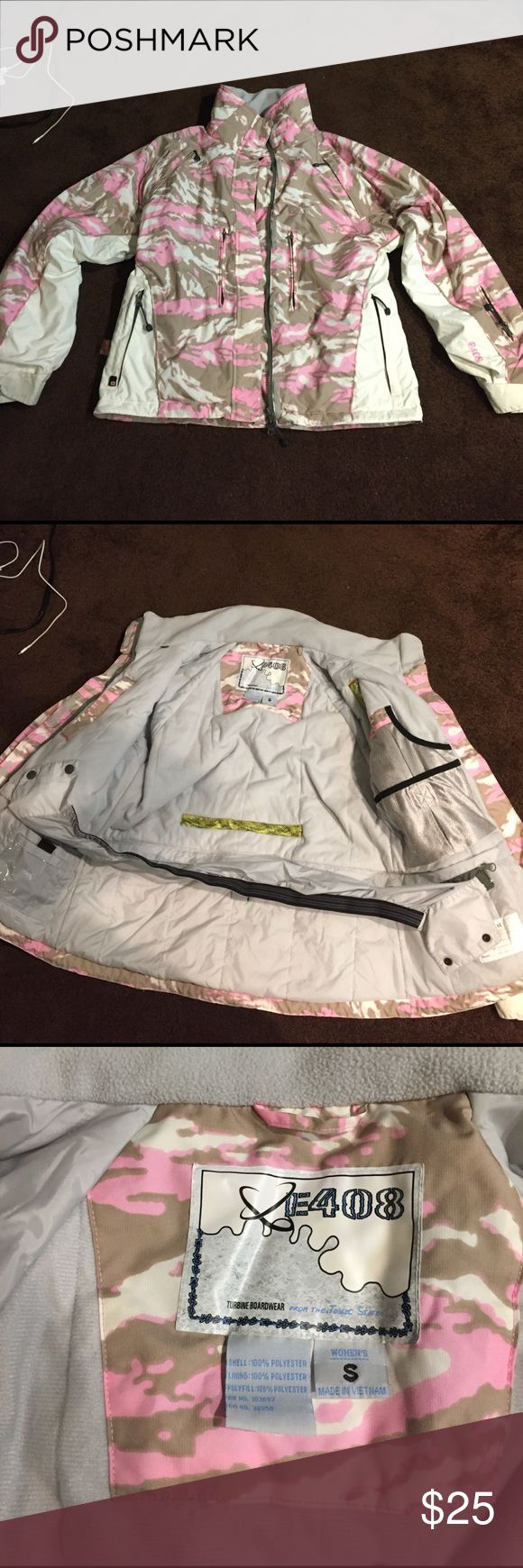Pink camo jacket Super warm pink camo jacket. I wore this twice in Tahoe. It's pretty old but it's rarely been worn and is in great condition. Lots of pockets and room in the arms. It says small but it's more of a medium. Open to offers :) E408 Jackets & Coats Utility Jackets