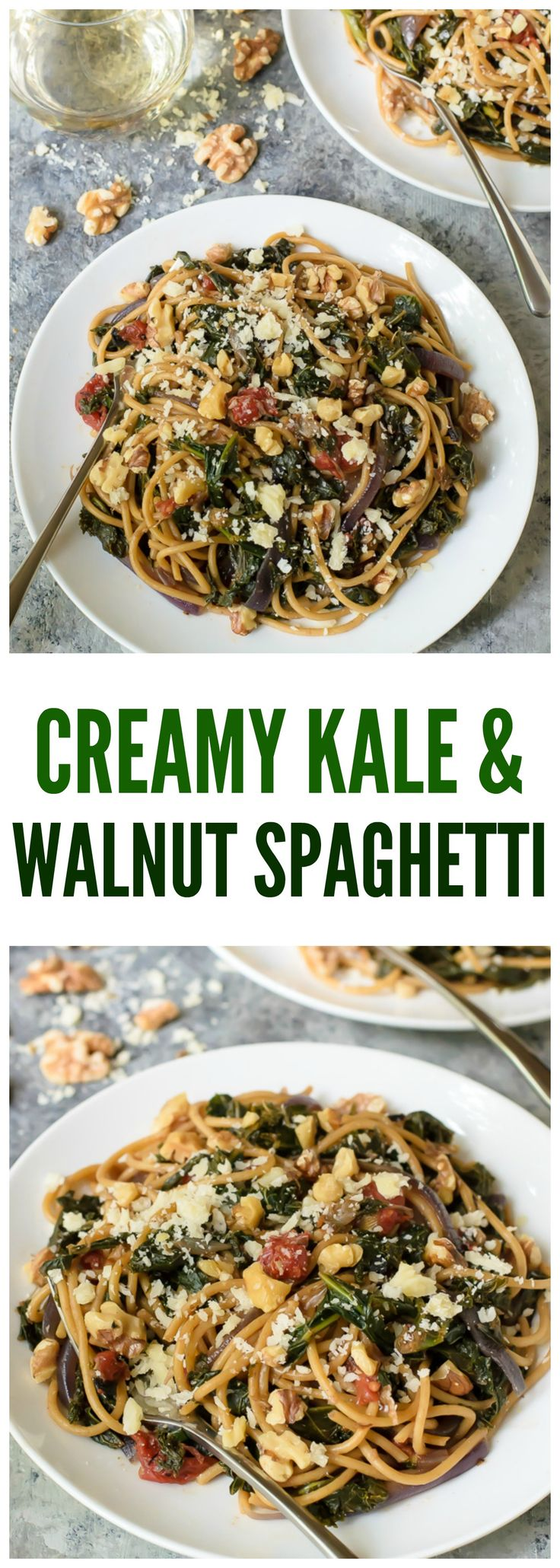 Creamy Kale and Walnut Spaghetti. An easy, healthy 30-minute meal! Recipe at wellplated.com @wellplated