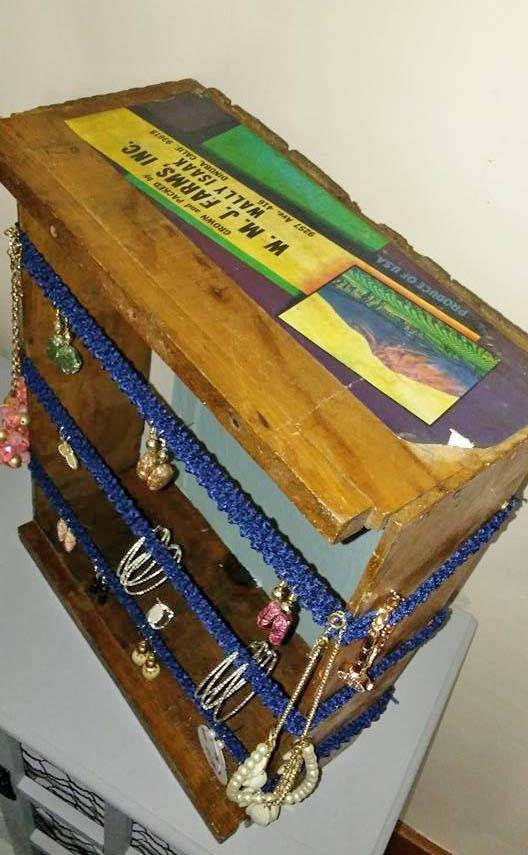 Old Vintage Wooden Box Crate Jewelry Organizer Holder Display W. M. J. Farms, Inc. Dinuba California