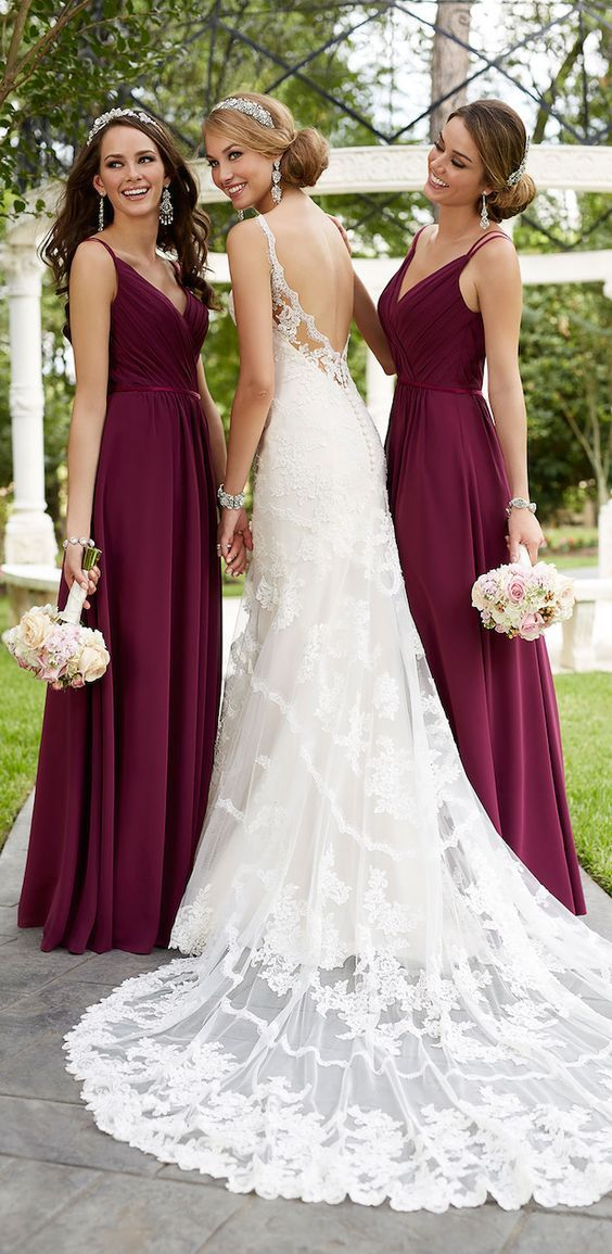 Stella York Spring 2016 Lace Wedding Dress and Purple Bridesmaid Dresses / http://www.deerpearlflowers.com/lace-wedding-dresses-and-gowns/