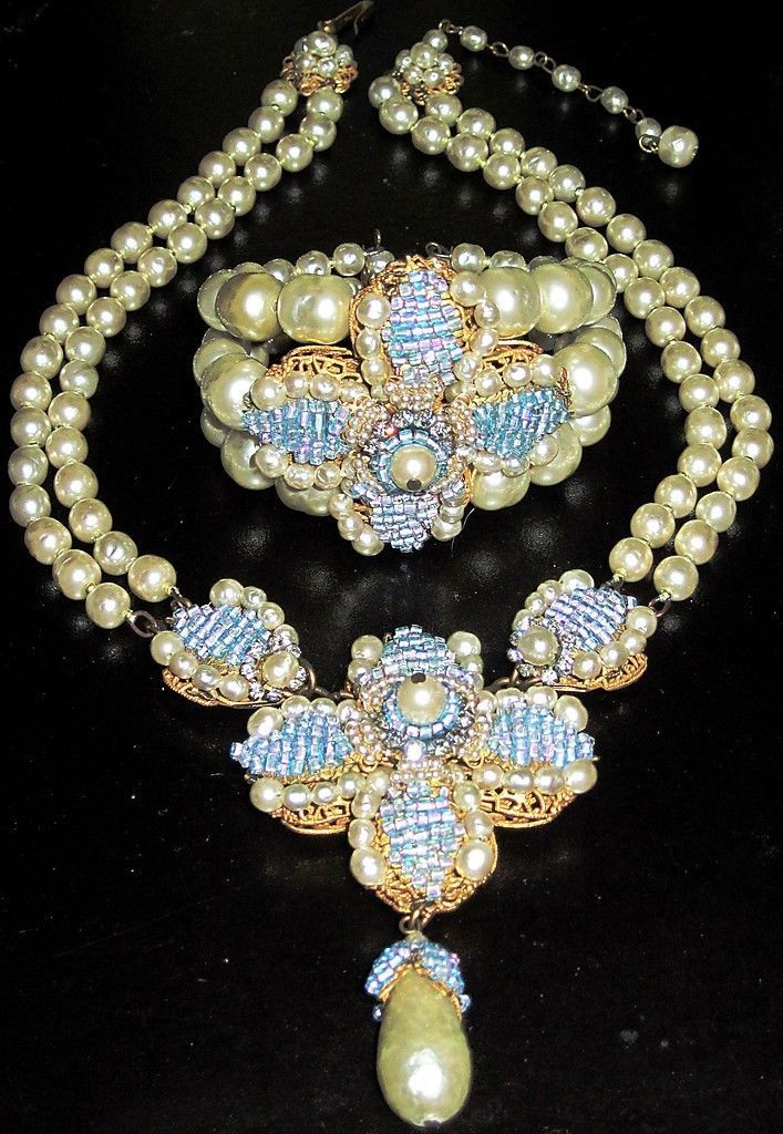 Miriam Haskell Huge Baroque Pearl Blue Purple Glass Bead Necklace Bracelet Set | eBay