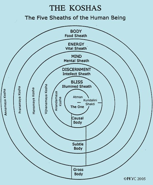 The Koshas, energy information and how it radiates from the body/or plant/rock etc.