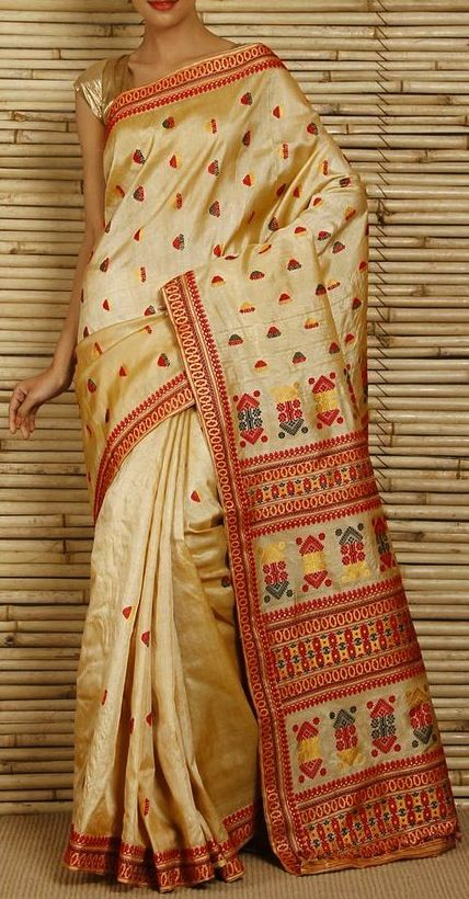 Tos Muga Silk saree; Considering that it takes two months to weave a saree and that it takes 1,000 cocoons to yield 125 gm of silk and that it takes about 725 gm to 1,000 gm for a saree, one can figure out why these creations are so expensive.