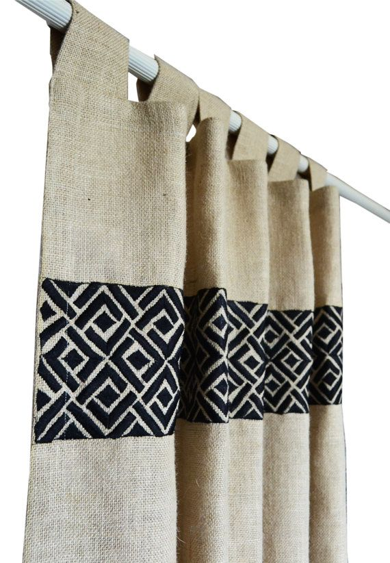 Ivory burlap curtain with geometric Chippendale embroidery. Jute drape in In Greek Key Gray Embroidery Ivory Linen Curtain Rod Tab Curtains  Details