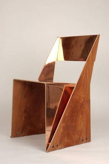 une chaise originale en cuivre et bois / Plywood and Copper Stackable Chair by Tobias Labarque #copper, #cuivre, #rame, #kupfer, #cobre