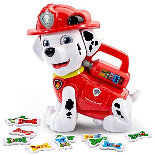 Learn letters and more with the PAW Patrol Treat Time Marshall by VTech. Put a bone-shaped Pup Treat into Marshall's mouth and he will recognize each piece and respond with letters phonics objects...
