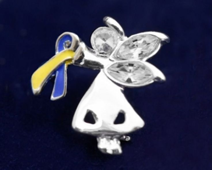 Down Syndrome Awareness Pin Yellow Blue Ribbon Angel #Unbranded #Traditional