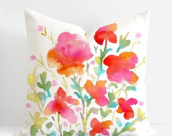 Pansies and Butterflies - One of a kind watercolour floral is an unique design by Senay @SenayDesignStudio  * Original eco-friendly fabric, featuring our unique hand painted design * Hand crafted throw pillow case/cushion cover with attention to details * Custom made to fit standard size pillow form/insert: 16 inches x16 inches, 18inches x 18inches, 20 inches x 20 inches, 26 inches x 26 inches * Front - Watercolor painting 55% linen 45% cotton * Back - Solid colour 100% premium flax...