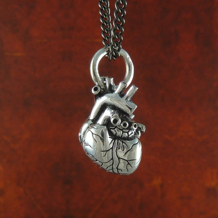 """Small Anatomical Heart Necklace Antique Silver Small Anatomical Heart Pendant on 24"""" Gunmetal Chain. $48.00, via Etsy."""