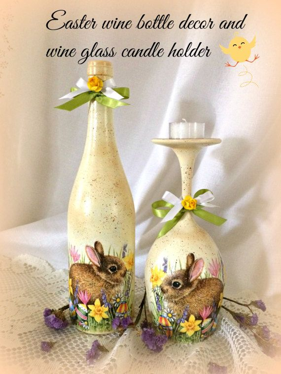 Easter wine bottle decor,Easter bunny decor,decoupage ,wine glass candle holder,Easter kitchen decor,hostess gift,Spring home decor, 2 piece