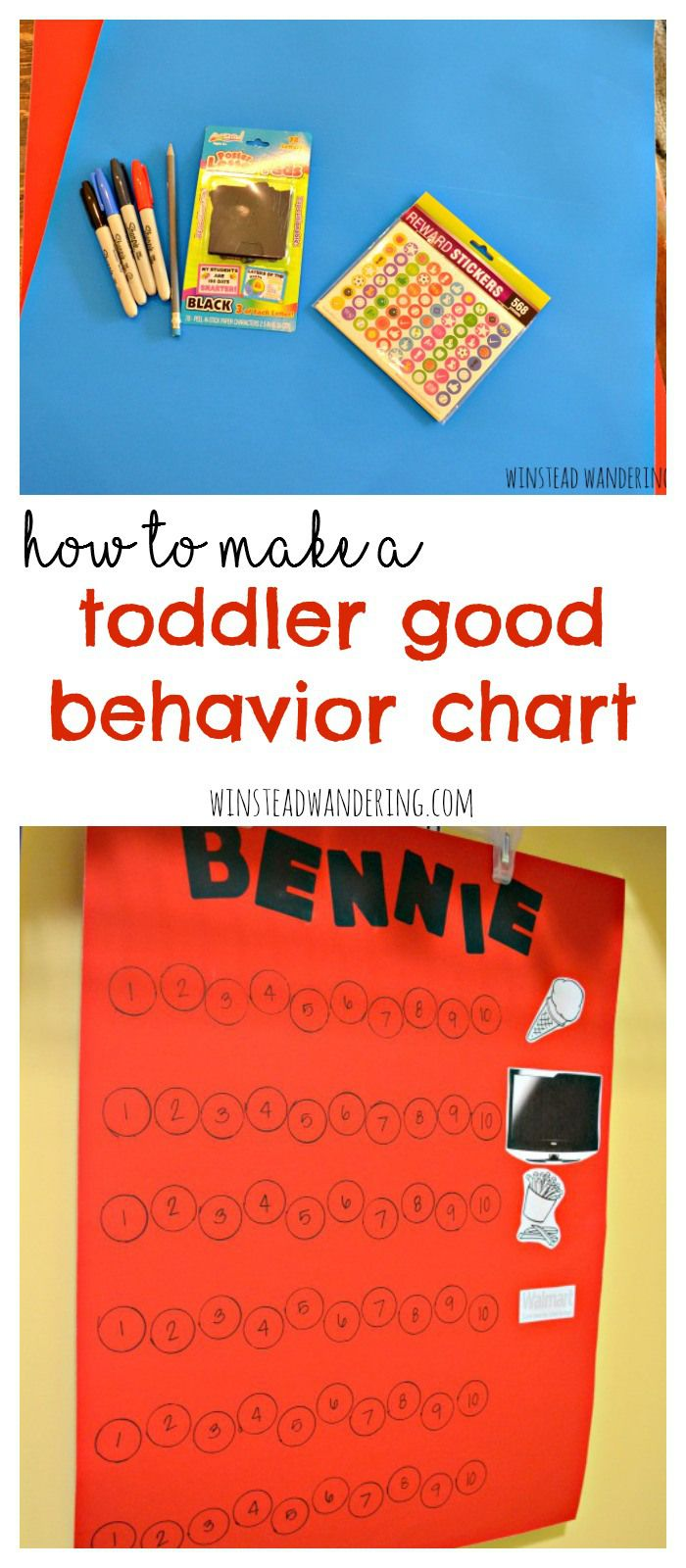 For a few dollars and less than an hour of your time, you can make a basic chart to reinforce and reward your toddler's good behavior (this idea would totally work for older kids, too!)