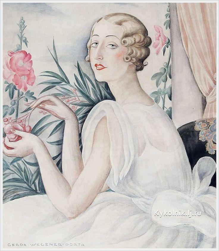 Gerda Wegener (Danish, 1886-1940) «Portrait of young woman»