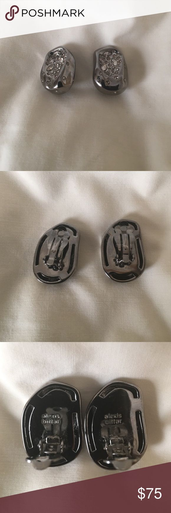 Alexis Bittar Earrings Alexis Bittar Silver/gunmetal clip earrings up for sale. These are perfect for someone who wants a little war sparkle. Alexis Bittar Jewelry Earrings