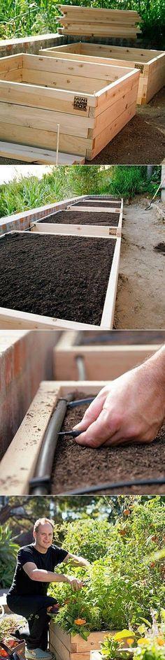 Self Watering Raised Bed Vegetable Garden. #summervegetablegardening #urbangardeningtips #watergardens