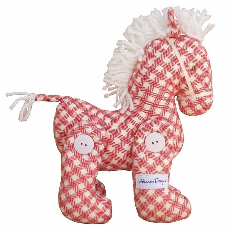 Alimrose Jointed Toy Pony - Plaid Red Cream - $34.95 This Jointed Toy Pony from Alimrose Designs is a beautiful decorative toy for any little girls or boys nursery with gorgeous fabric and a fluffy mane. Measures aprx 22cm tall & 18cm long