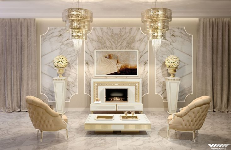 Art deco is the main style for this elegant and luxurious living room signed #vismaradesign. #charme #luxury #italianfurniture