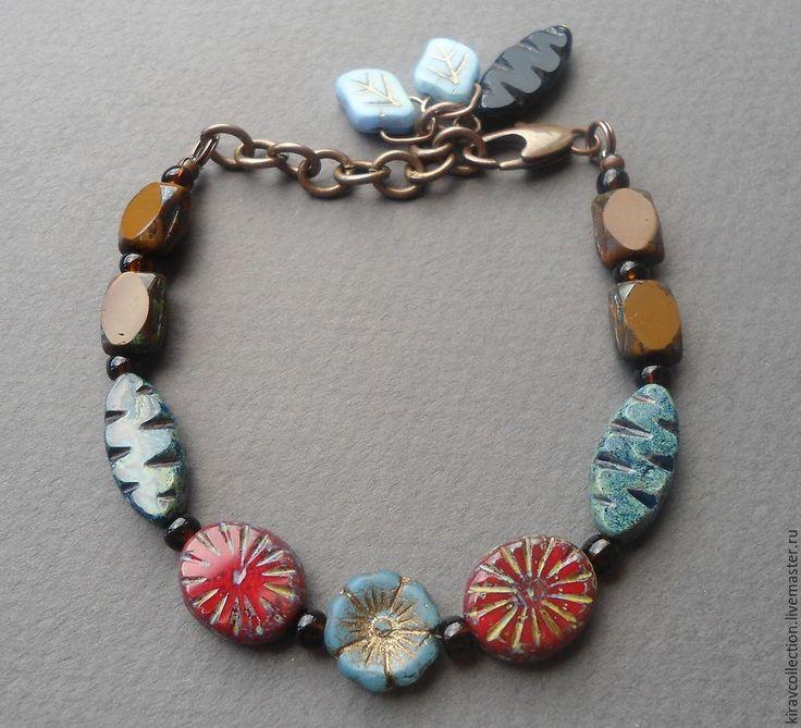 Купить Комплект: браслет и серьги Гавайские цветы. - уникальное украшение, браслет, серьги, чешское стекло
