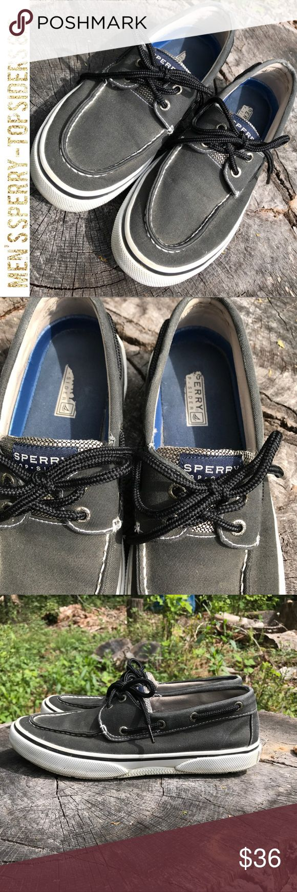 Men's Canvas Black Sperry-Topsider Boat Shoes The white sides and the soles look like these were only worn a couple of times. They're in almost brand new condition. The only thing I see is the inside label where your heel goes looks like that is somewhat worn down. These are sturdy black canvas shoe in a size 8.5. Men love these whether they have a boat or not. Sperry Top-Sider Shoes Boat Shoes