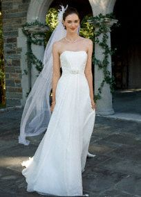 chiffon soft a-line with beaded empire waist- David's Bridal - Style WG3128