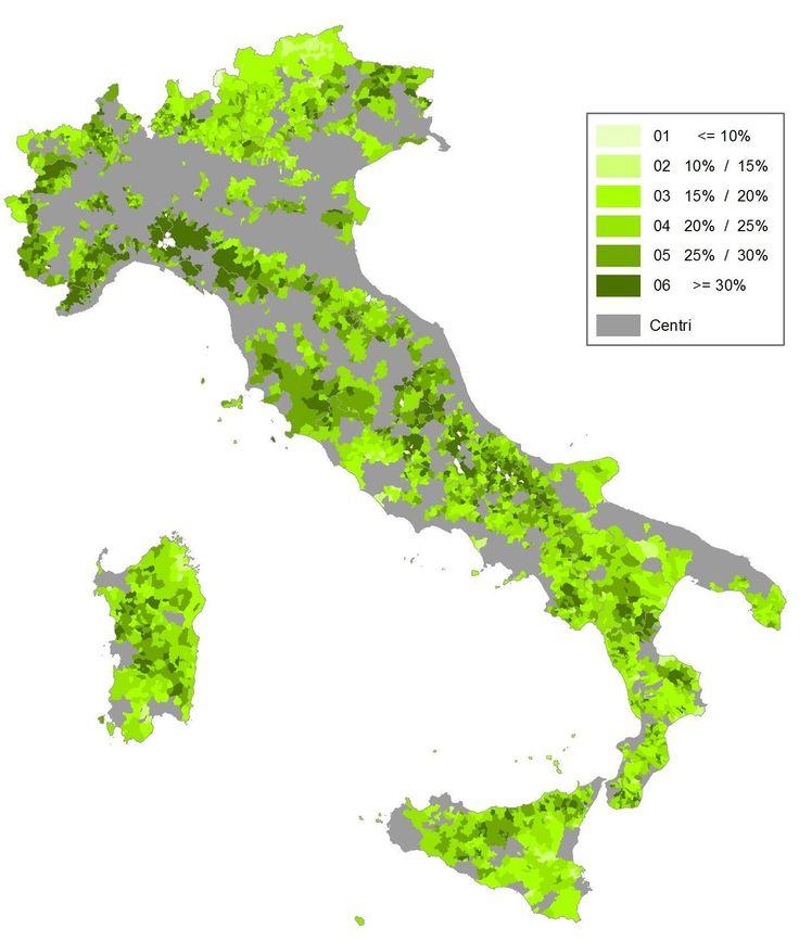 Aree Interne. Classificazione del territorio italiano secondo la quota di anziani