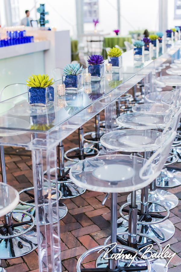 Long table / Bar seating at Decatur House event.  Bar/Bat Mitzvah / Wedding / Corporate Event / Washington DC  Photo: Rodney Bailey