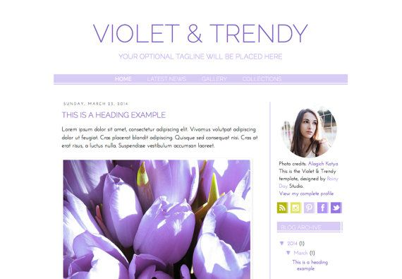 Responsive Blogger Premade Template. Violet & Trendy template. Blog design. Minimalist, elegant, sophisticated, fashion in mauve and green.
