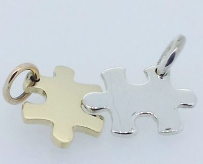 Charm - TINY PUZZLE LINKS - Personalised Sterling Silver or 9ct Gold