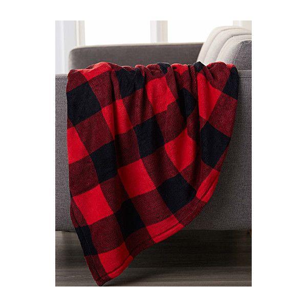 Simons Maison Plush buffalo check throw  130 x 180 cm (15 CAD) ❤ liked on Polyvore featuring home, bed & bath, bedding, blankets, plush throw, buffalo plaid blanket, checkered bedding, buffalo plaid throw blanket and buffalo plaid throw