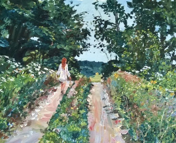 Original Painting collected artist Samuel Burton Walking through Woodland Meadow