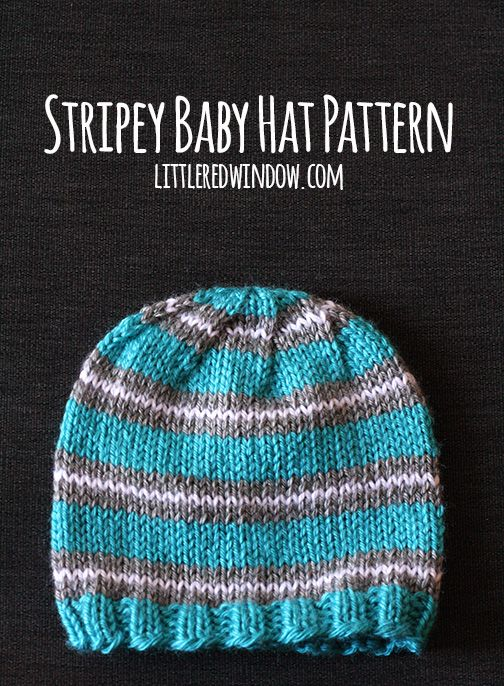 Knit a sweet and simple Stripey Baby Hat with this free knitting pattern from littleredwindow.com!