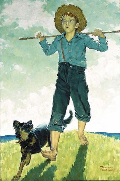 Norman Rockwell-Boy And Dog