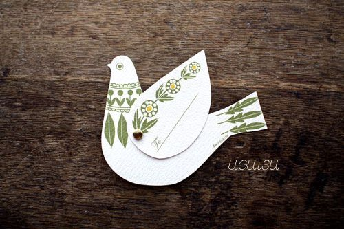 Inspiration: handmade in Tokyo, this little pigeon card has movable wings where you can write a little message. Attach this to a gift for a super charming presentation.  $5.50 at Uguisi.