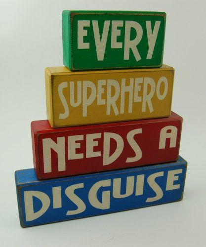 Every Superhero Needs A Disguise - Primitive Country Wood Stacking Sign Blocks Superhero Decor- Superhero Birthday-Superhero Nursery Room-Superhero Baby Shower Home Decor For Boys