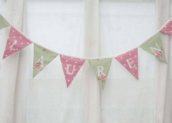 Personalized Bunting  Personalised Name Pennant  Banner  Pale Green Floral and Pink Dotty  PRICE PER LETTER Flag