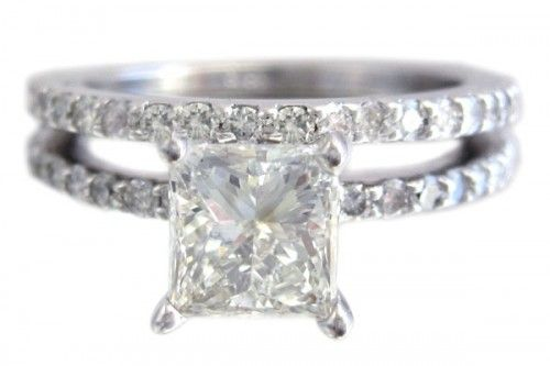18k white gold princess cut diamond engagement ring and band prong set