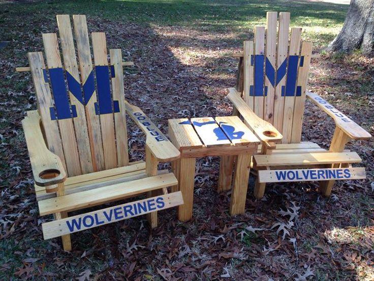 #Michigan #GoBlue Custom Adirondack Chairs Set